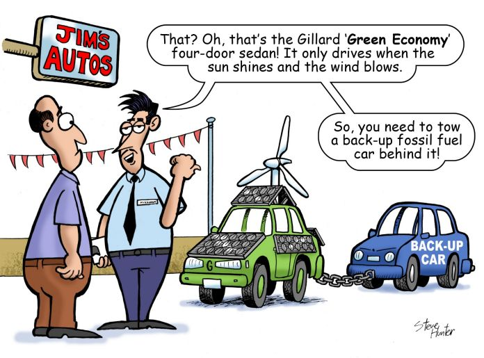 That? Oh, that's the Gillard 'Green Economy' four-door sedan! It only drives when the sun shines and the wind blows. So, you need to tow a back-up fossil fuel car behind it!