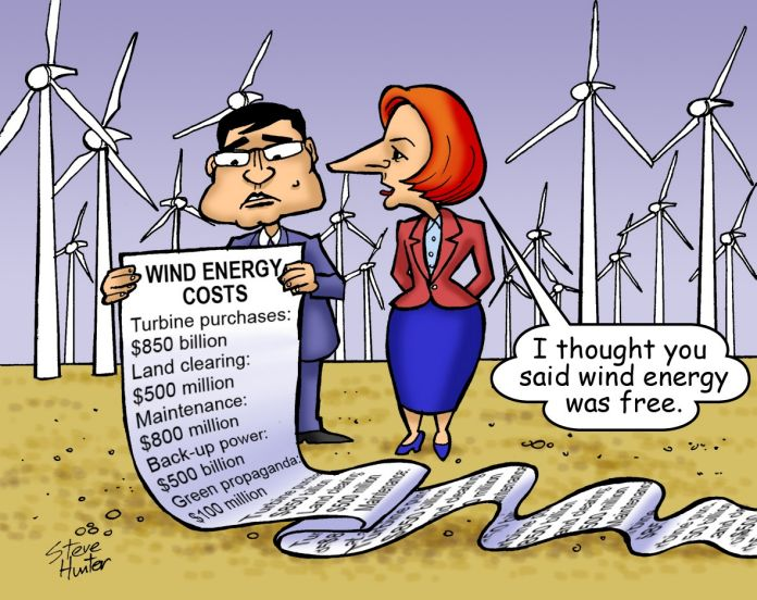 Wind energy costs... I thought you said wind energy was free.