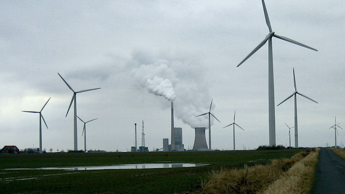 Thermal power plant and wind turbines. Peine, Lower Saxony, Germany