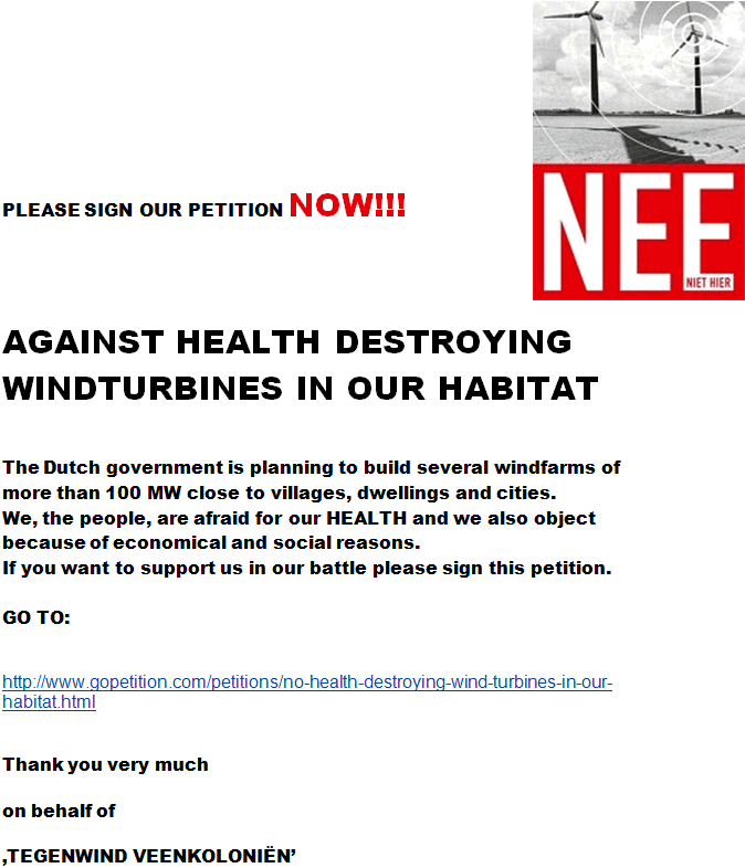 Against health destroying windturbines in our habitat