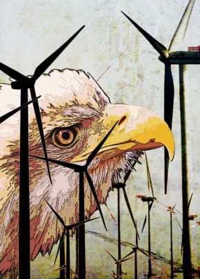 Illustration Windmills Killing Eagles by Greg Groesch for The Washington Times