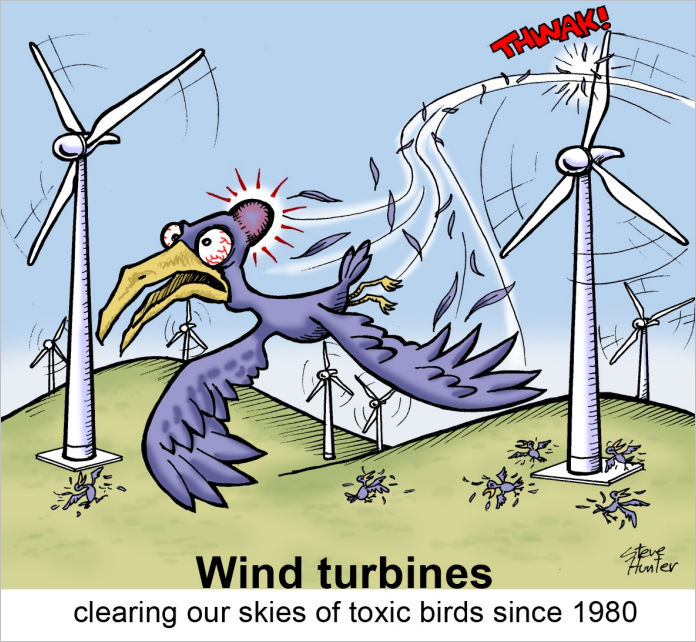 Wind turbines clearing our skies of toxic birds since 1980